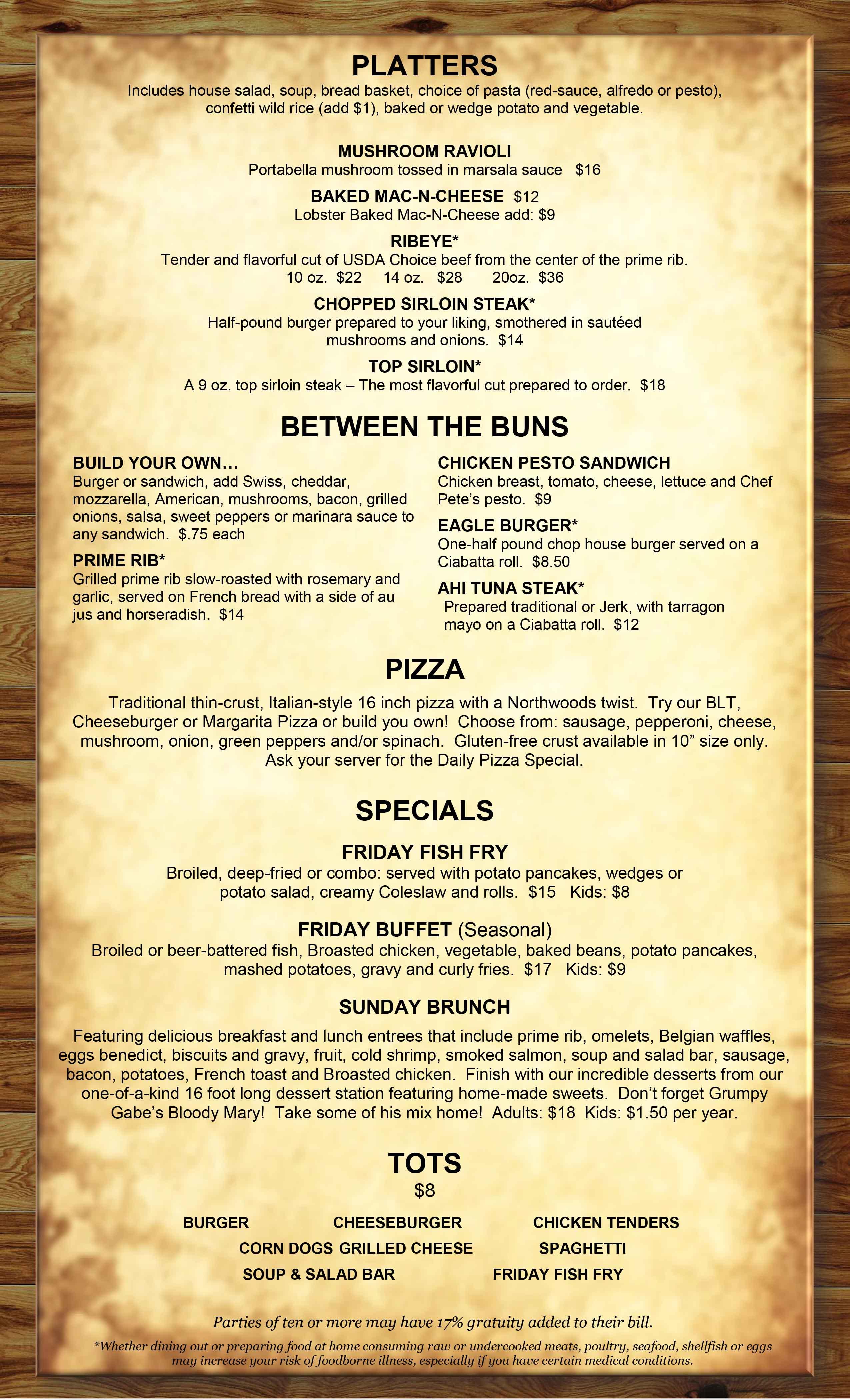 restaurant menu eagle waters resort
